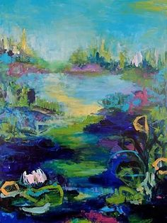 "Daily Painters Abstract Gallery: Contemporary Abstract Painting,Expressionist Landscape Fine Art ""Garment of the Pond"" by Abstract Artist Nijole Rasmussen"
