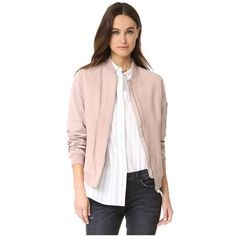 Mackage Vimka Bomber Jacket ($495) ❤ liked on Polyvore featuring outerwear, jackets, petal, long sleeve jacket, real leather jackets, bomber jacket, lined leather jacket and fleece-lined jackets