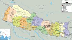 nepal | Description: The Political Map of Nepal showing names of capital city ...