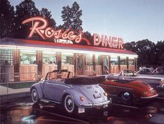Maggie's Diner. Just pulling into Rosie's Diner in our classic cars and most likely dressed to kill. 1950s Aesthetic, Diner Aesthetic, Aesthetic Vintage, Aesthetic Photo, Aesthetic Pictures, Brown Aesthetic, Aesthetic Gif, Aesthetic Fashion, Vintage Diner