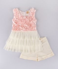 Another great find on #zulily! Pink & Cream Floral Tutu Tunic & Shorts - Toddler & Girls #zulilyfinds