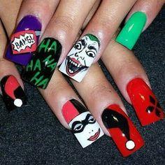Superhero Nails, Batman Nails, Cute Nails, Pretty Nails, Funky Nails, Maquillage Harley Quinn, Pointed Nails, Nailart, Halloween Nail Art