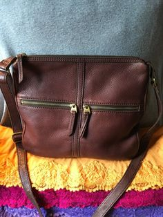 Handbag Fossil Erin Brown Leather Shoulder Bag Credit Card Purse Zip Crossbody #Doris_Daily_Deals #Bonanza http://www.bonanza.com/listings/487891172