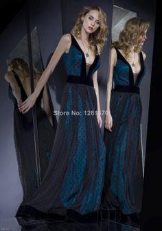 New style sexy  A line  V-neck spaghetti straps backless  floor length  Evening Dresses  2014 custom made  $139.00
