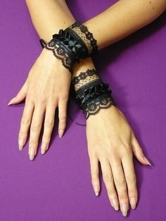 """""""Gothic cuff set (2 pcs) made of black satin and 2 different kinds of black lace, with lovely satin ruffle."""""""