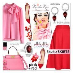 """""""Pink & Red- Bow tie Blouse + Pleated Skirt- Reveka Rose 15"""" by anyasdesigns ❤ liked on Polyvore featuring Fendi, Relaxfeel, Chicwish, Gianvito Rossi, Tiffany & Co. and Butter London"""
