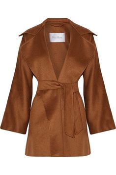 Max Mara - Gas Cashmere Wrap Coat - Brown - UK16