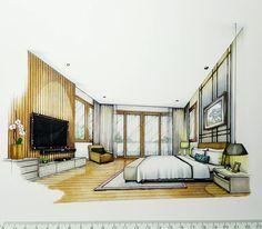 "Tama Vajrabukka on Instagram: ""Master Bedroom #sketch #handdrawing #handsketch #perspective #interior #design #interiordesign #interiorsketch #arquitetapage…"""