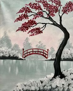 Browse our upcoming painting classes and events at Prairie Village Pinot's Palette! Reserve your seat for the best paint and sip experience today! Japan Painting, Summer Painting, Painting Tips, Japanese Landscape, Japanese Art, Bridge Painting, Paint And Sip, Zen Art, Diy Canvas Art