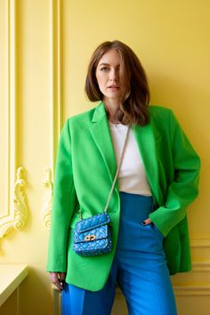 Colour Combinations Fashion, Looks Style, My Style, Suits For Women, Clothes For Women, Color Blocking Outfits, Look Blazer, Pastel Outfit, Mature Fashion