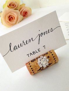 Love the font on this place card. I like how the name is in a different font than the table number.