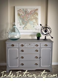 Vintage Gray and White Dresser / Buffet / by IndigoInteriors, $395.00