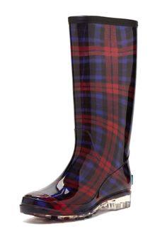 BootsiTootsi Plaid Tall Rain Boot omg love the clear heel! Need these for Scotland!