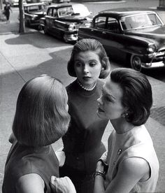 Three models wearing the new pageboy hairstyle, photo by Nina Leen, 1955    Comments and faves