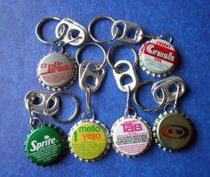 1 Vintage Bottle Cap Key Chain Ring  Choice by NouveauCompliments, $5.50
