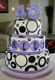 40th Birthday Cake. this is cute. and also in purple. :)