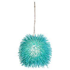 "Urchin 1 Light Foyer Globe Pendant by Varaluz; $609; aqua velvet (also gold, chrome ($517.65), electric pumpkin, super red, un-mellow yellow; metal/steel; 13""Hx16""W; wire L 120""; Urchin Collection; allmodern.com"