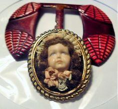 Antique Vintage Celluloid Belt Buckle Red plus by GMJvintage1, $14.50