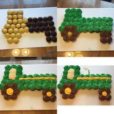 John Deere Tractor Cupcake Cake steps