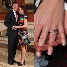 #New Princess Eugenie and Jack Brooksbank (22nd January)❣️ . The couple marked their engagement with official portraits taken in the Picture Gallery at Buckingham Palace❤️ . Eugenie's engagement ring is a big padparadscha sapphire surrounded by diamonds #britishroyalfamily