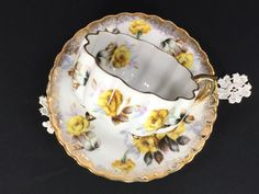 Japanese Tri Footed Teacup and Saucer - Unmarked Yellow Floral Tea Cup 12949 by TheVintageTeacup, $28.05 USD