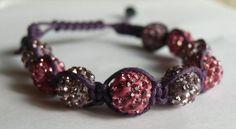 FREE SHIPPING Shamballa bracelet disco ball beads pink purple on Etsy, $9.99
