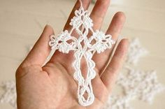 Crochet cross - hanging ornament for your Christmas tree! The price is for ONE CROCHET CROSS. The cross is crocheted using cotton yarn and starched. The height of cross is approximately 11 cm (4.3). All my items were made in a pet-free and smoke-free environment. If you would like me to