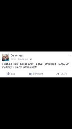 iPhone 6 Plus. 64 GB. Space Grey. Unlocked. $700. Iphone 6, Space, Grey, Floor Space, Gray, Spaces