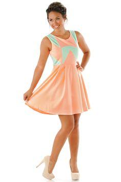 A Kiss Is More Than A Kiss Dress: Peach/Aqua