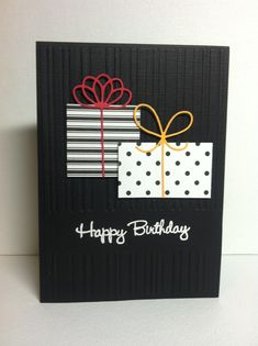 Love the black embossed background on this handmade birthday card.  Add boxes and bows in your choice of patterns or solids.