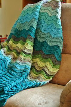 Ocean Waves Ripple Afghan Crochet in Blues Green by PrairieWinter