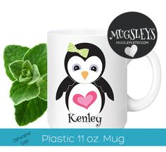 Personalized plastic Cup Kids Penguin Mug Toddler Cups by Mugsleys