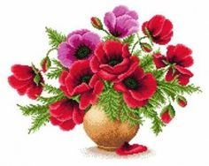 Vase with poppies. Click on cxema for pdf chart.