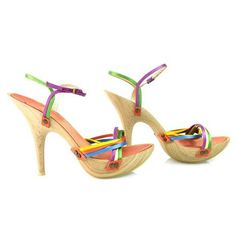Giuseppe Zanotti MultiColored Wooden platform sandals SZ 37 eu