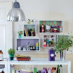 Love these shelves for an office/craft room Interior Design Diy, Fun Storage, Diy Interior, Wall Boxes, Room, Interior, Home Decor, Ikea Boxes, Room Inspiration