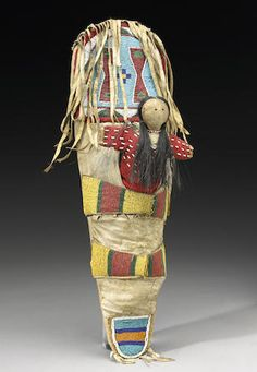 "Antique ""Crow "" Indian Toy Cradleboard with Doll."