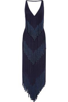 Hervé Léger - Metallic Fringed Bandage Midi Dress - Navy -