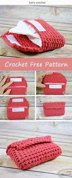 This Small Tissue Pouch Free Crochet Pattern is a very simple and easy pattern that is great for any occasion. Make one now with the free pattern provided by the link below. Crochet Pouch, Crochet Purses, Crochet Handbags, Crochet Bags, Pouch Pattern, Purse Patterns, Crochet Patterns, Free Pattern, Crochet Ideas