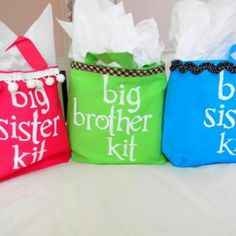 Love this idea!  Surprise the older sibling(s) with this kit when they visit at the hosp.  Include things like Im a big brother or sister shirt; snacks; and activities to keep them busy!
