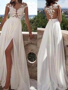 A-Line Chiffon Short Sleeves Scoop Sweep/Brush Train Ivory Prom Dresses - Wedding Dresses - VeroElla Ivory Prom Dresses, Long Sequin Dress, Wedding Dress Train, Chiffon Dress Long, Wedding Dress Chiffon, Princess Wedding Dresses, Perfect Wedding Dress, Evening Dresses, Party Dresses
