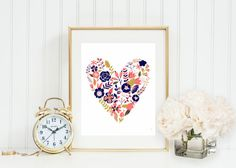 Coral Navy and Gold Floral Heart Wall Art coral and by GrayFrames