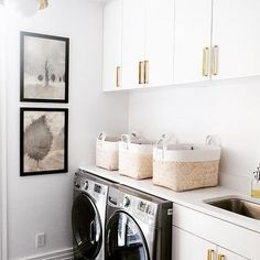 White and Gold Laundry Room Design