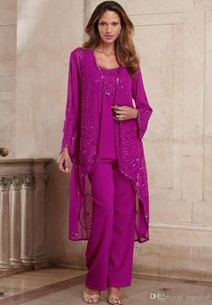 Cheap mother of bride, Buy Quality mother gown directly from China mothers mother Suppliers: 2017 Fuchsia Mother Of Bride Pant Suit 3 Pieces Chiffon Formal Mother's Gowns With Long Jacket Beaded Special Occasion Plus Size Mother Of The Bride Suits, Mother Of Groom Dresses, Mothers Dresses, Bride Dresses, Party Dresses, Mother Bride, Plus Size Vintage, Formal Pant Suits, Wedding Pantsuit