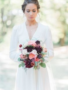 Fall wedding bouquet with burgundy + pink dahlias and roses {Ditto Dianto Photography}