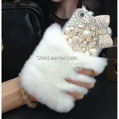 "Cute Faux Rabbit Fur Crystal Bow Soft Case for iPhone 6 Plus / 6S Plus 5.5"""