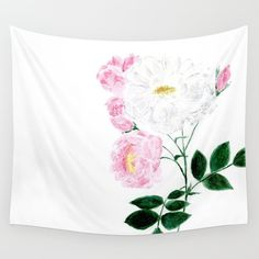 Modern Flower Rose Wall Tapestry floral wall tapestry by lake1221