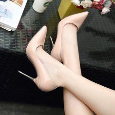 2017 New Fashion High Heels Women Pumps Thin Heel Classic black beige Sexy Prom Wedding Shoes size High Heel Pumps, Women's Pumps, Nude Heels, Stiletto Heels, Purple High Heels, Beige Pumps, Gorgeous Heels, Shoe Boots, Women's Shoes