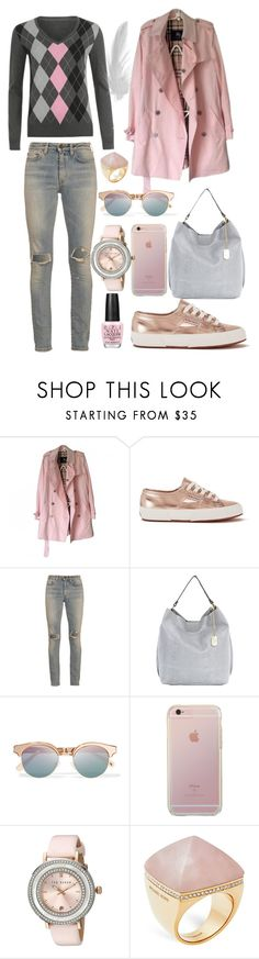 """Outfit #429"" by sofi6277 ❤ liked on Polyvore featuring Burberry, Superga, Yves Saint Laurent, Anna Morellini, Le Specs, Ted Baker, Michael Kors and OPI"