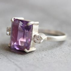 OOAK Amethyst ring - white topaz ring - Prong set ring - engagement  $155.00