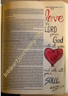 Deuteronomy Love the Lord with all your heart and all your soul Scripture Lettering, Scripture Art, Bible Art, Bible Journaling For Beginners, Bible Study Journal, Art Journaling, Bible Drawing, Bible Doodling, Bible Prayers